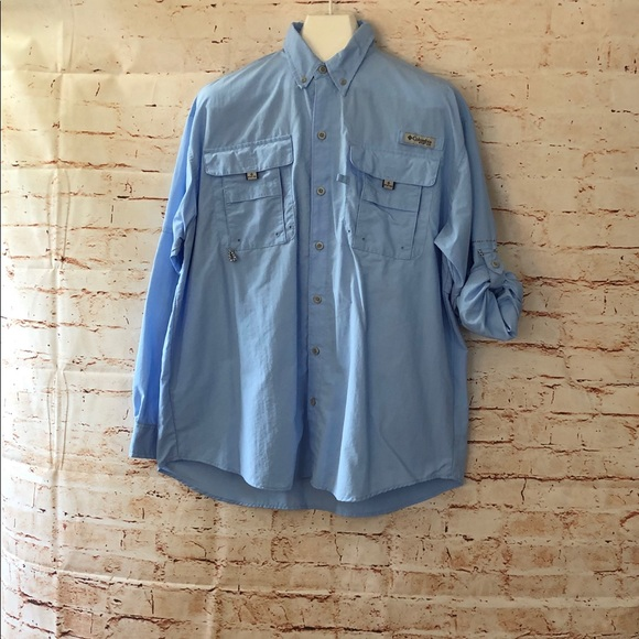 9b6d2706 Columbia Shirts | Pfg L Blue Button Up Fishing Shirt Vented | Poshmark